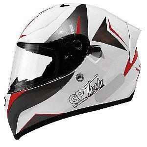 Capacete Gp Tech V128 Velocity - Branco/Cinza/Vermelho (Óculos solar)