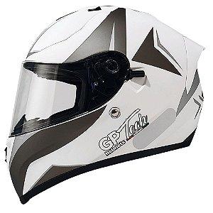 Capacete Gp Tech V128 Velocity - Branco/Cinza Fosco (Óculos solar)