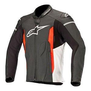 Jaqueta Alpinestars Faster Leather - Preto/Branco/Vermelho Fluor