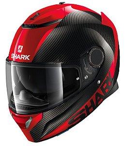 Capacete Shark Spartan Carbon Skin - Preto/Vermelho