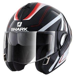 Capacete SHARK Evoline S3 Hyrium - Preto/Branco/Vermelho