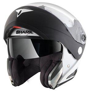 Capacete Shark Openline Prime - Branco/Preto (Escamoteável)