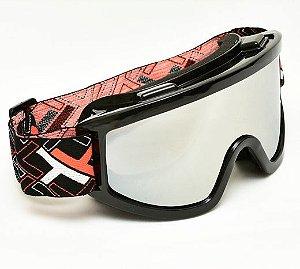 Oculos Motocross Mattos Preto Lente Espelhada Cross Trilha