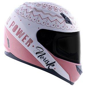 Capacete Norisk FF391 Girl Power - Branco/Rosa