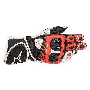 Luva Alpinestars GP Plus R V2 Preta Branco Vermelha Couro