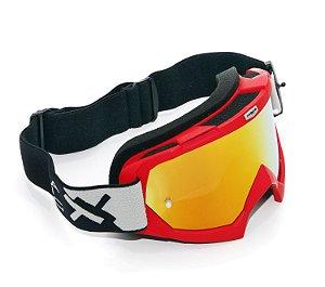 Oculos Motocross Mattos Racing Combat Vermelho Espelhado