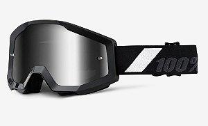 Óculos 100% Strata Goliath Preto Espelhado Motocross Cross