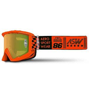 Óculos Asw A3 Glory Laranja Cross Motocross Trilha Enduro