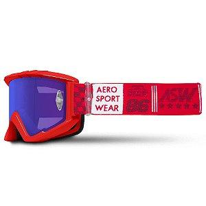 Óculos Asw A3 Glory Vermelho Cross Motocross Trilha Enduro
