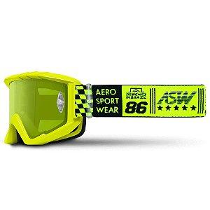 Óculos Asw A3 Glory Amarelo Fluor Cross Motocross Trilha