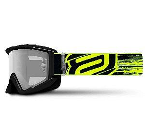Óculos Asw A2 Brush Preto Amarelo Fluor Cross Motocross