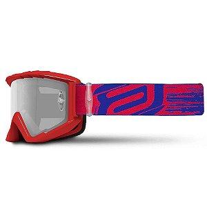 Óculos Asw A2 Brush Vermelho Azul Cross Motocross Trilha