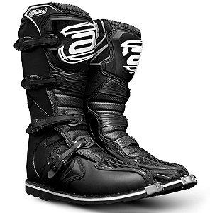 Bota ASW Preta Cross Motocross Trilha Enduro