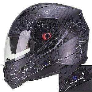 Capacete Bieffe B40 Astro Preto Fosco Smart Trip Comunicador