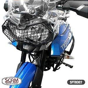 Protetor Farol Aço Carbono Tiger800 2012+ Spto302 Scam