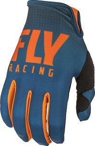Luva Motocross Fly Lite 19 azul laranja cross trilha bike