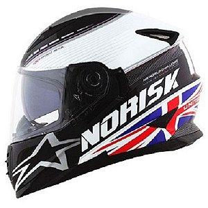 Capacete Norisk ff302 Grand Prix UK Inglaterra Azul Vermelho