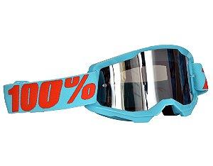 Óculos 100% Strata 2.0 Summit Azul Espelhado Motocross Cross
