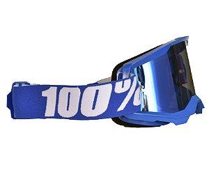 Óculos 100% Strata 2.0 Blue Azul Espelhado Motocross Cross