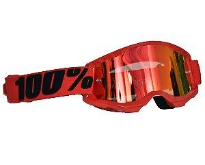 Óculos 100% Strata 2.0 Red Vermelho Espelhado Motocross Cros