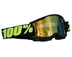 Óculos 100% Strata 2.0 Upsol Preto Espelhado Motocross Cross