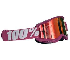 Óculos 100% Strata 2.0 Fletcher Rosa Espelhado Motocross