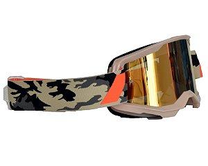 Óculos 100% Strata 2.0 Kombat Camuflado Espelhado Motocross