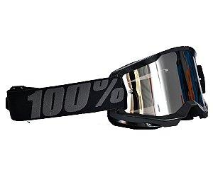 Óculos 100% Strata 2.0 Black Preto Espelhado Motocross Cross