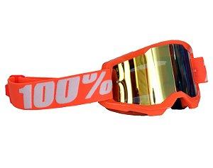 Óculos 100% Strata 2.0 Orange Laranja Espelhado Motocross