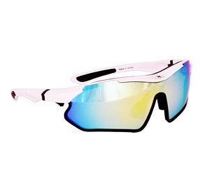 Óculos Bike Mattos Vision Branco Lente Espelhado + Fotocromatica