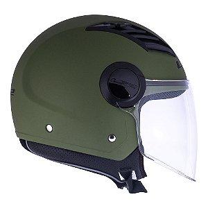 Capacete Ls2 Aberto Airflow Of562 Verde Militar Fosco