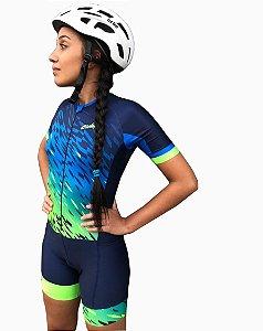Macaquinho Ciclismo Feminino Aqua Azul Verde Ciclopp Bike