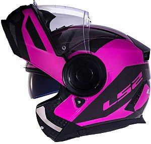 Capacete Ls2 Scope Ff902 Mask Preto Rosa Escamoteável