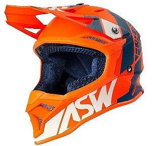 Capacete Motocross Cross ASW Fusion 2 Seecker Laranja Azul
