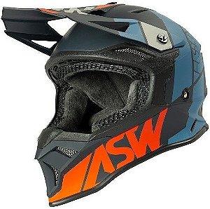 Capacete Motocross Cross ASW Fusion 2 Seecker Cinza Azul