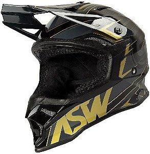 Capacete Motocross Cross ASW Fusion 2 Blade Cinza Dourado