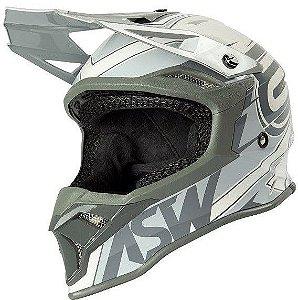 Capacete Motocross Cross ASW Fusion 2 Blade Branco Cinza