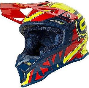 Capacete Motocross Cross ASW Fusion 2 Blade Amarelo Vermelho