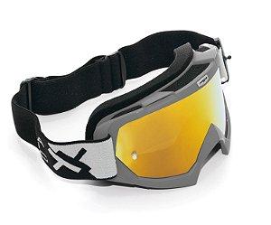 Oculos Motocross Mattos Racing Combat Cinza Espelhado