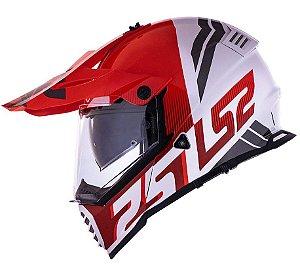 Capacete Ls2 MX436 Pioneer Evo Evolve Branco Vermelho Trail