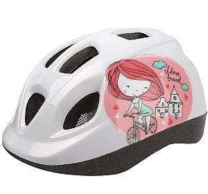 Capacete Bike Infantil Polisport Kid Princess Branco Rosa