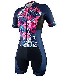 Macaquinho Ciclismo Bike Feminino Asw Flamingo Rosa Preto