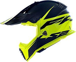 Capacete Ls2 Motocross Cross Mx437 Fast Roar Amarelo Fosco