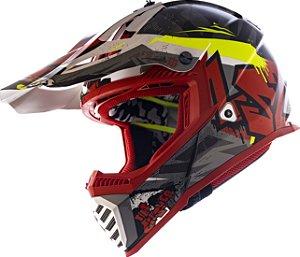 Capacete Ls2 Motocross Cross Mx437 Fast Crusher Vermelho