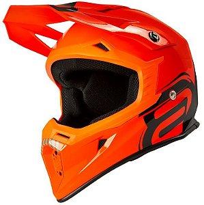 Capacete Motocross Cross ASW Core Legacy Laranja Preto Cinza