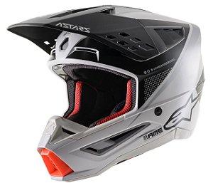 Capacete Motocross Alpinestars Sm5 Rayon Cinza Preto Fosco