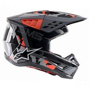 Capacete Motocross Alpinestars Sm5 Rover Camuflado Vermelho