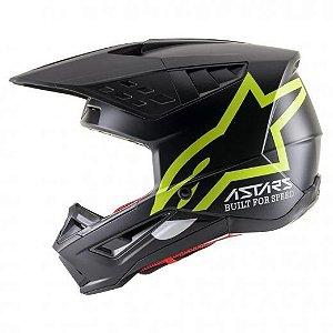 Capacete Motocross Alpinestars Sm5 Compass Preto Amarelo