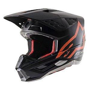 Capacete Motocross Alpinestars Sm5 Compass Preto Laranja