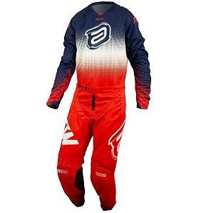 Conjunto Motocross Cross ASW Mandala 21 Vermelho Azul Branco